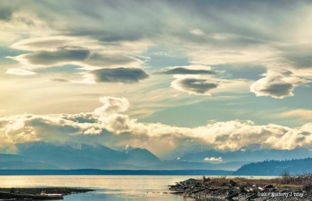 landscape, photograph, clouds, ocean, bay, mountains, sky,